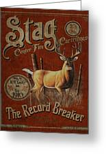 Stag Record Breaker Sign Greeting Card by JQ Licensing