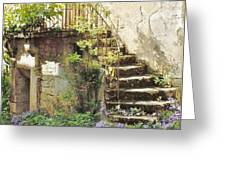 Stairway With Flowers Flavigny France Greeting Card by Marilyn Dunlap