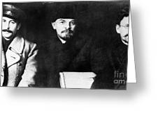 Stalin, Lenin & Trotsky Greeting Card by Granger