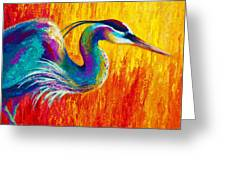 Stalking The Marsh - Great Blue Heron Greeting Card by Marion Rose