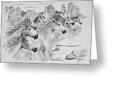 Stampede In Sedona Greeting Card by Joette Snyder