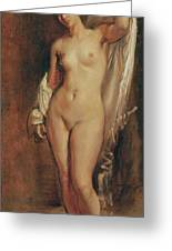 Standing Female Nude Greeting Card by Theodore Chasseriau