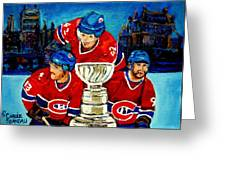Stanley Cup Win In Sight Playoffs   2010 Greeting Card by Carole Spandau