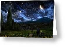 Starry Night Greeting Card by Alex Ruiz