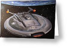 Starship Enterprise Greeting Card by Rita Tortorelli