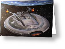 Starship Enterprise Greeting Card by Rita Tortorelli