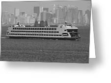 Staten Island Ferry BW16 Greeting Card by Scott Kelley