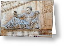 Statue Capitoline Hill Of Rome Italy Greeting Card by Eva Kaufman