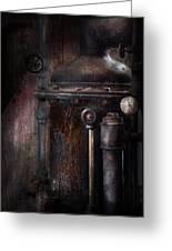 Steampunk - Handling Pressure  Greeting Card by Mike Savad