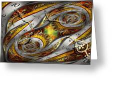 Steampunk - Spiral - Space time continuum Greeting Card by Mike Savad