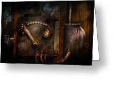 Steampunk - The Control Room  Greeting Card by Mike Savad