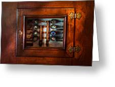 Steampunk - Electrical - The fuse panel Greeting Card by Mike Savad