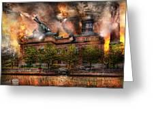 Steampunk - The War Has Begun Greeting Card by Mike Savad