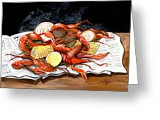 Steamy Crawfish Greeting Card by Elaine Hodges