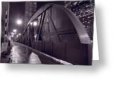 Steel Bridge Chicago Black And White Greeting Card by Steve Gadomski