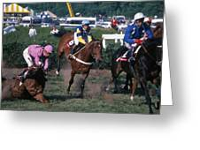 Steeplechase Spill - 1 Greeting Card by Randy Muir