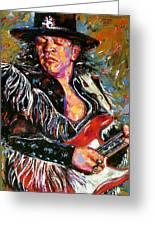 Stevie Ray Red Guitar Greeting Card by Debra Hurd