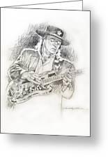 Stevie Ray Vaughan - Texas Twister Greeting Card by David Lloyd Glover