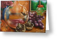 Still Life In Oil Greeting Card by Evelyn Sichrovsky
