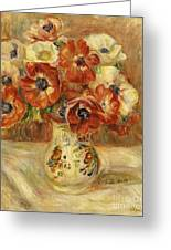 Still Life With Anemones  Greeting Card by Pierre Auguste Renoir