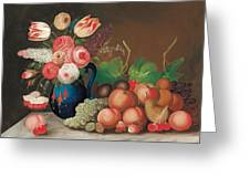 Still Life With Fruit And Flowers Greeting Card by William Buelow Gould