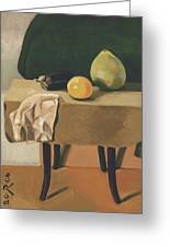 Still-life With Grapefruit Greeting Card by Raimonda Jatkeviciute-Kasparaviciene