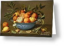 Still Life With Oranges And Lemons In A Wan-li Porcelain Dish  Greeting Card by Jacob van Hulsdonck