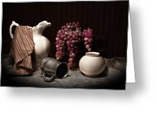 Still Life With Pitcher And Grapes Greeting Card by Tom Mc Nemar