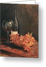 Still Life With Wine And Grapes Greeting Card by Anna Rose Bain