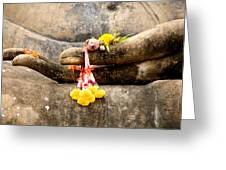 Stone Hand Of Buddha Greeting Card by Adrian Evans