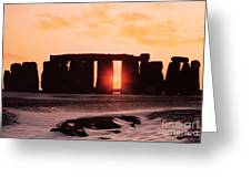 Stonehenge Winter Solstice Greeting Card by English School