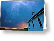 Storm Clouds Over Saskatchewan Country Church Greeting Card by Mark Duffy