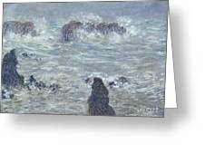 Storm Off The Coast Of Belle Ile Greeting Card by Claude Monet
