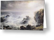 Storm Off The Coast Of Belle Ile Greeting Card by Jean Antoine Theodore Gudin