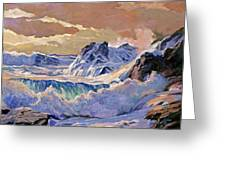 Storm On Pacific Coast Greeting Card by David Lloyd Glover