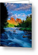 Stormlight On Red Rock Crossing Greeting Card by Kerrick James