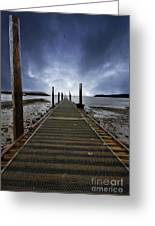 Stormy Jetty Greeting Card by Meirion Matthias