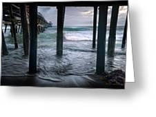 Stormy Pier Greeting Card by Gary Zuercher
