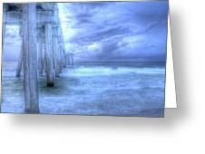 Stormy Pier Greeting Card by Larry Underwood