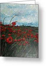 Stormy Poppies Greeting Card by Nadine Rippelmeyer