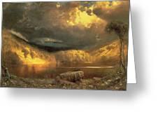 Stormy Skies Above Echo Lake White Mountains Greeting Card by Fairman California