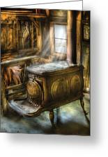 Stove - A Warm Cozy Stove Greeting Card by Mike Savad
