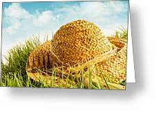 Straw Hat On Grass With Blue Sky  Greeting Card by Sandra Cunningham