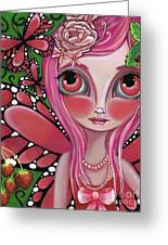 Strawberry Butterfly Fairy Greeting Card by Jaz Higgins