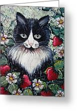 Strawberry Lover Cat Greeting Card by Natalie Holland