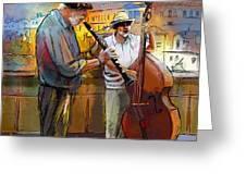 Street Musicians In Prague In The Czech Republic 01 Greeting Card by Miki De Goodaboom