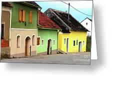 Street Of Wine Cellar Houses  Greeting Card by Mariola Bitner