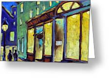 Streets At Night Greeting Card by Richard T Pranke