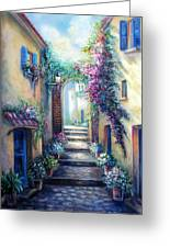 Streetscene In Old Town Greece Greeting Card by Gina Femrite