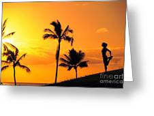 Stretching At Sunset Greeting Card by Dana Edmunds - Printscapes